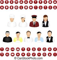 carte, ensemble, restaurant, gens, vecteur, icônes