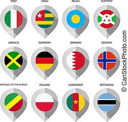 carte, ensemble, septième, -, drapeau, papier, marqueur