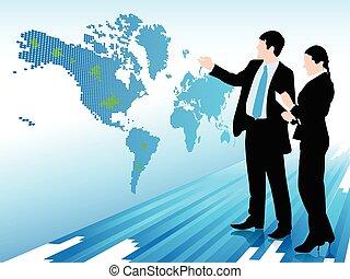 carte, femme regarde, homme affaires, monde numérique