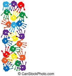 carte, fond blanc, handprints, coloré