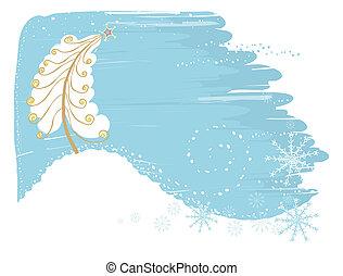 carte, fond, neige, noël, vecteur, tendre, arbre.