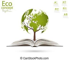 carte, formulaire, ouvert, levée, mondiale, arbre, book.