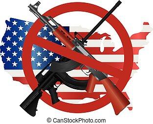 carte, fusils, usa, symbole, assaut, illustration, drapeau, interdiction