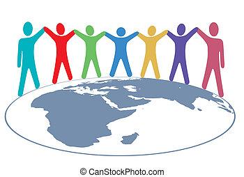 carte, gens, bras, couleurs, mains, mondiale, prise