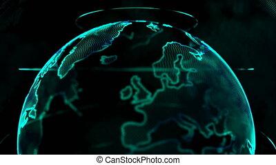 carte, globe, élément, sombre, animation, noir, 4k, fond, mondiale, filer, point