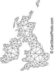 carte, grand, réseau, maille, polygonal, grande-bretagne, vecteur, irlande