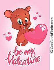 carte, heart., vecteur, rue, tenue, invitation, valentine, day., dessin animé, salutation, ou, cupidon, ours, illustré