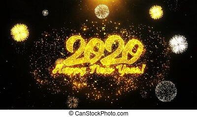 carte, heureux, année, nouveau, invitation, voeux, 2020, salutations, fait boucle, feud'artifice, célébration