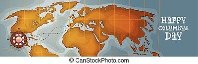 carte, heureux, mondiale, bannière, colomb, vacances, amérique, horizontal, découvrir, retro, jour, carte, affiche, salutation