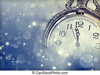 carte, horloge, nouveau, lumières, vacances, salutation, vendange, année