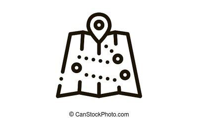 carte, icône, emplacements, animation, touriste