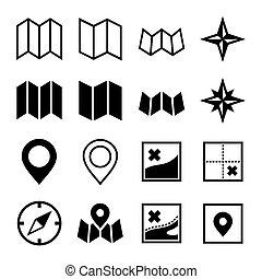 carte, icônes, arrière-plan., vecteur, emplacement, blanc