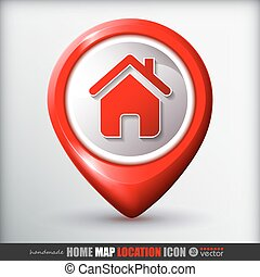 carte, icon., maison, emplacement