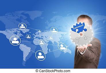 carte, icones affaires, gear., contact, mondiale, prise, homme