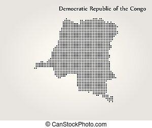 carte, illustration., congo., vecteur, république, mondiale, démocratique