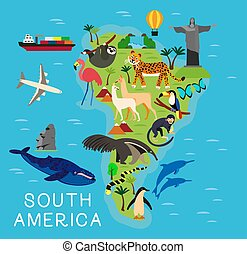 carte, illustration., dessin animé, vecteur, sud, animal, amérique, enfants, kids.