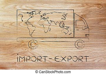carte, import-export, camion livraison, mondiale, conception