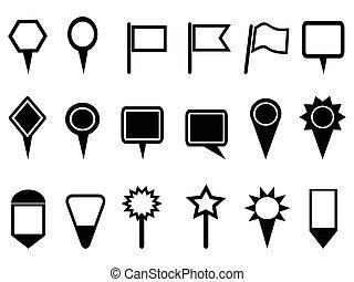 carte, indicateur, icônes, navigation