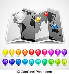 carte, indicateurs, emplacement, épingle
