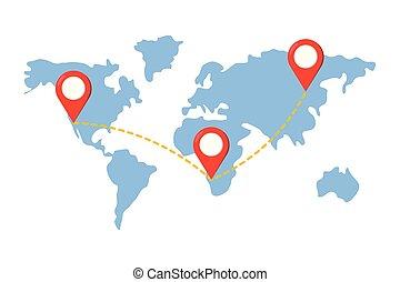 carte, indicateurs, emplacement