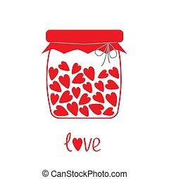carte, intérieur., bouteille, cœurs, amour