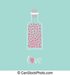 carte, intérieur., bouteille, rose, cœurs, amour, blue.
