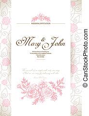 carte, invitation, mariage