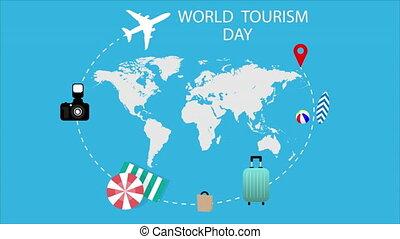 carte, jour, mondiale, avion, tourisme