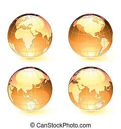 carte, la terre, globes, lustré