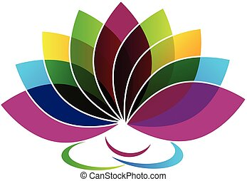 carte, logo, identité, fleur, lotus