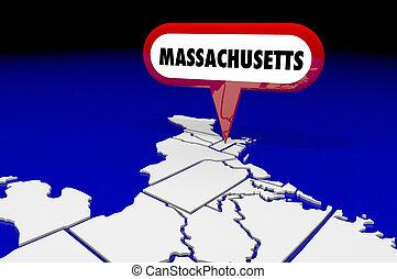 carte, maman, épingle, destination, emplacement, illustration, état, massachusetts, 3d