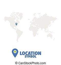 carte, map., symbole., indicateur, icône, mondiale, gps, emplacement