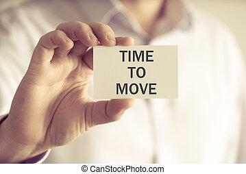 carte, message, tenue, temps, mouvement, homme affaires