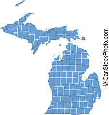 carte michigan, vecteur