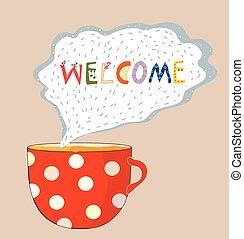 carte, mignon, -, accueil, tasse thé, conception