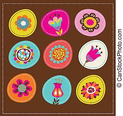 carte, mignon, salutation, collection, décoratif, fleurs