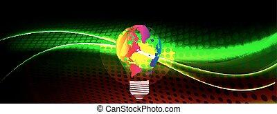 carte, mondiale, il, ampoule, lumière