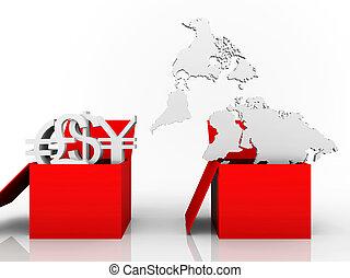 carte, monnaies mondiales, illustration, commercer