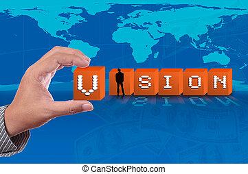 carte, mot, business, haut, bas, fond, cueillir, poussée, vision mondiale, homme