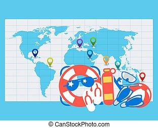 carte, mot, emplacement, mer, étiquettes