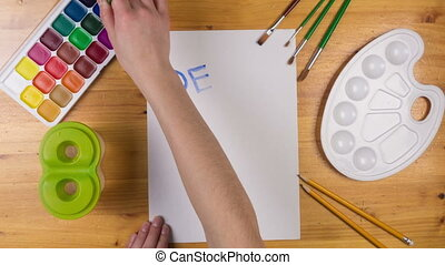 carte, mouvement, mères, dessiner, arrêt, gosse, animation, jour, salutation