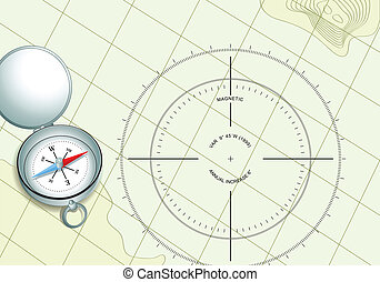 carte, navigation, compas