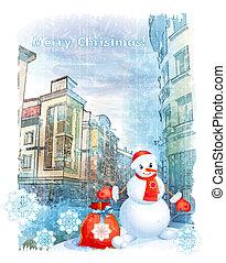 carte, noël, bonhomme de neige, salutation
