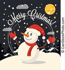 carte, noël, bonhomme de neige
