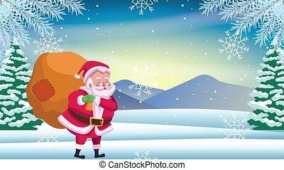 carte, noël dons, levage, heureux, santa, joyeux, claus, sac
