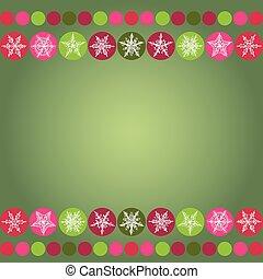 carte, noël, vecteur, vert, conception, arrière-plan., cadre, flocons neige
