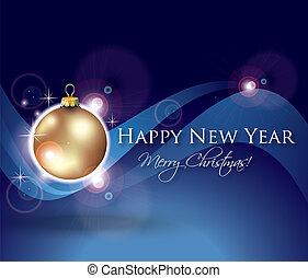 carte, nouveau, célébration, année