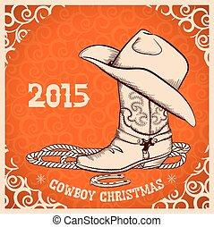 carte, nouveau, objets, salutation, cow-boy, occidental, année