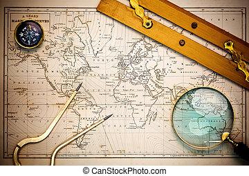 carte, objects., vieux, navigation
