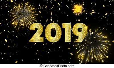 carte, or, année, nouveau, 2019, ciel, animation, feud'artifice